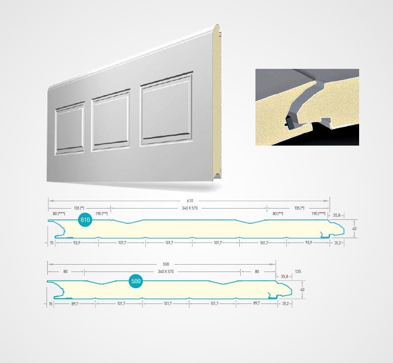 гаражна секционна врата - CASSETE STYLE – на касети