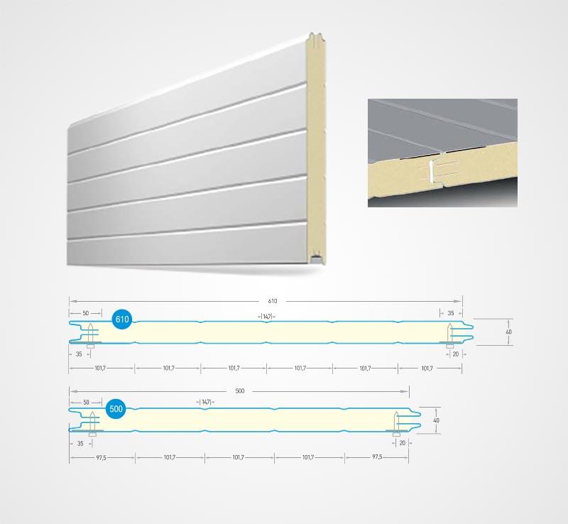гаражна секционна врата - RIB STYLE – на надлъжни V - образни линии
